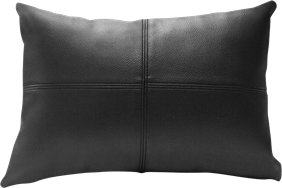 Leather Cushion - Black -  30 x 42cm