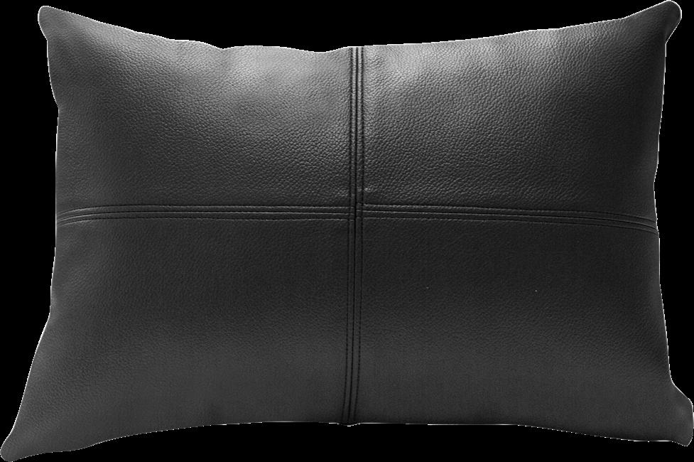 Leather Cushion - Black -  30 x 42cm