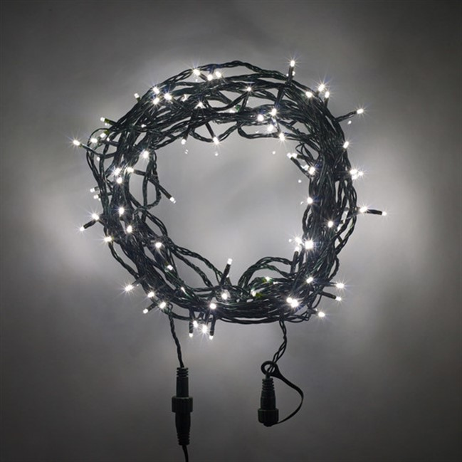 LED Fairy Lights - black wire / white globe (25m)