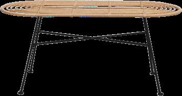 Capri Coffee Table - Black Legs - Natural - 45 x 100cm Oblong