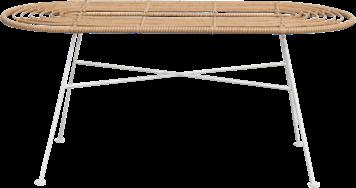 Capri Coffee Table - White Legs - Natural - 45 x 100cm Oblong