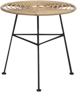 Capri Side Table - Black Legs - Natural - 45cm Rnd