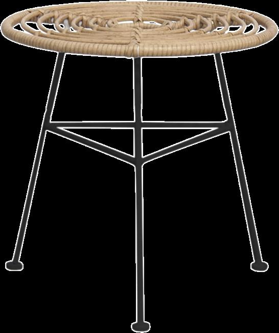Capri Side Table - Black Legs - Natural - 45cm Rnd