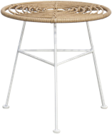 Capri Side Table - White Legs  - Natural - 45cm Rnd
