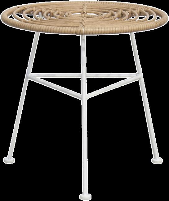 Capri Side Table - White Legs  - Natural - 45cm Rnd