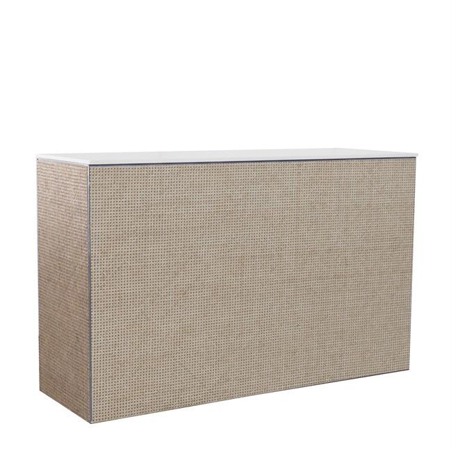 Chameleon Service Bar - Woven Cane - White Top - 60 x 180 x 110cm H
