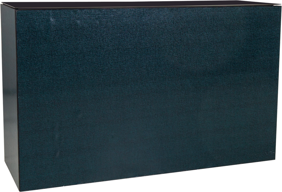 Chameleon Service Bar - Emerald Hide Leather - Black Top - 60 x 180 x 110cm H