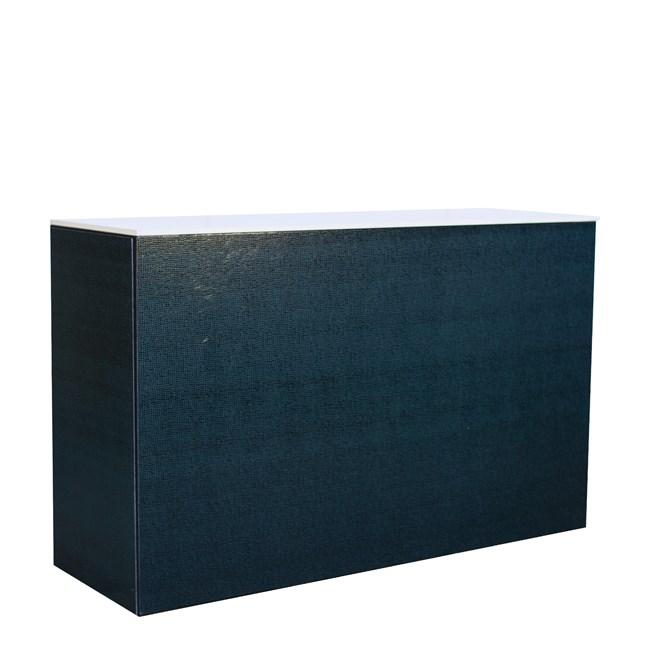 Chameleon Service Bar - Emerald Hide Leather - White Top - 60 x 180 x 110cm H