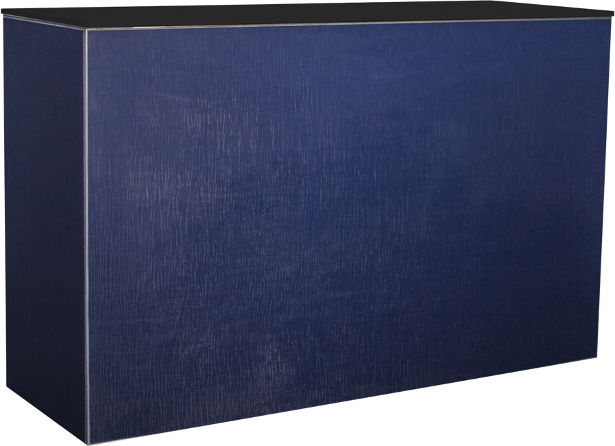 Chameleon Service Bar - Navy Silk - Black Top - 60 x 180 x 110cm H