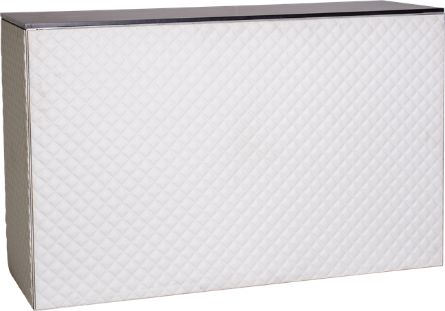 Chameleon Service Bar - Quilted White - Black Top - 60 x 180 x 110cm H