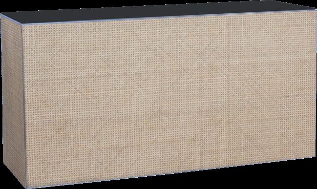 Chameleon Food Station - Woven Cane - Black Top - 60 x 180 x 90cm H