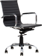Ergo Medium Back Chair - Black Leather