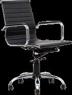 Ergo Medium Back Chair - Black Leather