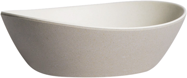 Kira Oval Bowl Small - Grey /Oat - 15 x 13 x 4cm H