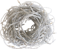 LED Fairy Lights - clear wire / white globe (25m)