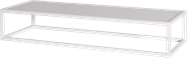 White Linear Table Riser Frame - White Top - 80 x 30 x 15cm H