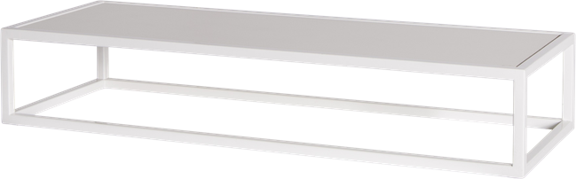 White Linear Table Riser Frame - White Top - 80 x 30 x 15cm H