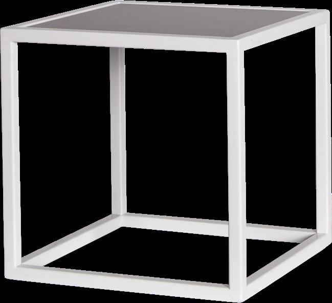 White Linear Table Riser Frame - Black Top - 30 x 30 x 30cm H