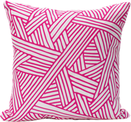 Criss-Cross Cushion - Fuchsia/White - 40cm x 40cm