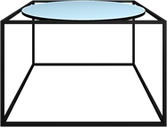 Black Linear Coffee Table Round