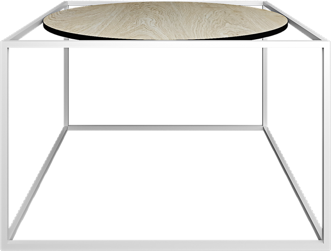 White Linear Coffee Table Round