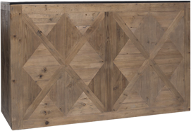 Service Bar - Parquetry - Black Top-  60 x 180 x 110cm H