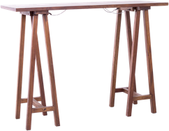 Carpenters Bar Table - Timber Top - 150 x 60cm Rect